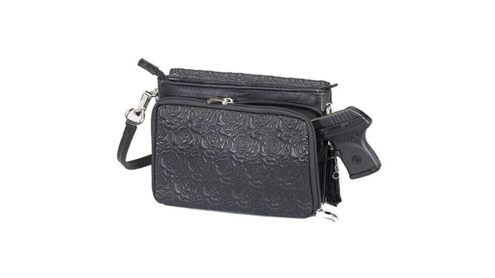 Gun Tote'n Mamas Concealed Carry Embroidered Lambskin Cross-Body Shoulder Bag