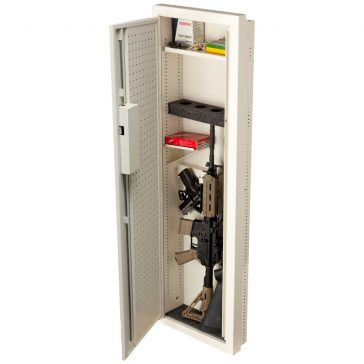 the V-Line Closet Vault II in-wall gun safe containing a handgun and automatic rifle